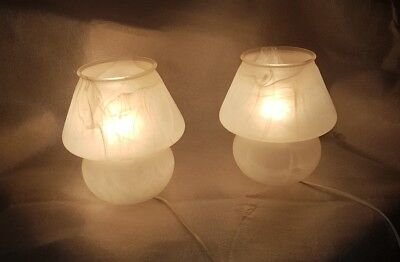 Pair White Table Lamps Mushrooms Murano 1970