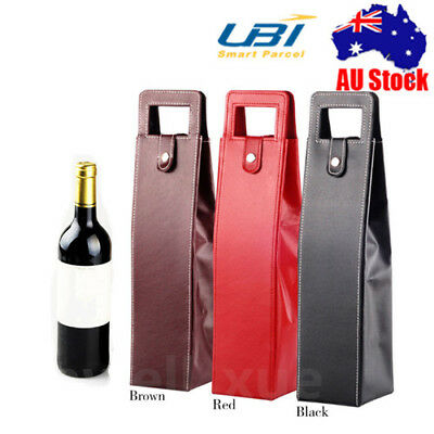 Bottle Drink/Wine/Beer Insulated Faux Leather Bag Tote Carrier Xmas Gift Case x3