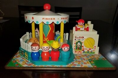 Vintage Fisher Price Little People Lot!  Merry Go Round!  Clean/works Great!