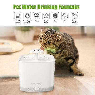 Docamor 2L Pet Cats Dogs Water Dispenser Healthy And Hygienic Drinking Fountain