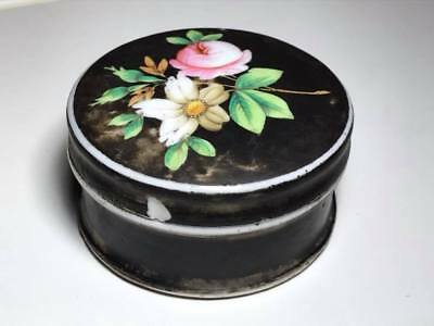 Antique Hand Painted Porcelain Creme Container