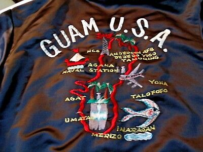 Vintage Black Guam Usa Jacket, Sammy's Embroidery, Size Xl