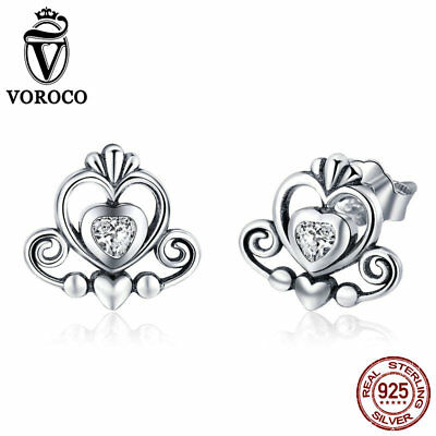 VOROCO Vintage 925 Sterling Silver Small Crown Earring Stud With AAA CZ For Girl