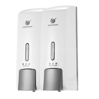 CHUANGDIAN Wall-mounted Two Chamber Manual Soap Dispensers Shampoo Box Rest S9V3