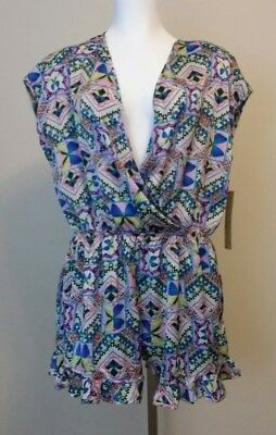 f97e5e52640 NWT Kersh Womens Pink Blue Butterfly Print Romper Size Medium