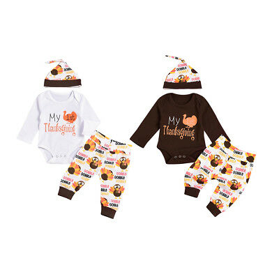 My First Thanksgiving Romper Pants Hats Outfits Turkey Clothes for Baby Girl Boy