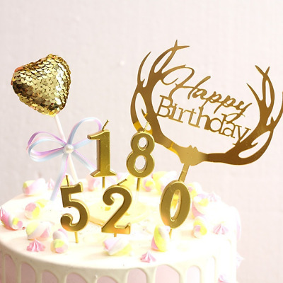 1PCS Number 0-9 Happy Birthday Cake Candles Gold Topper Decor Party Supplies Hot