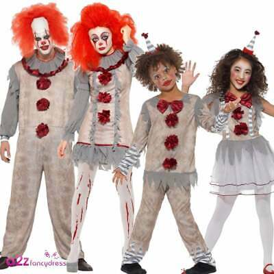 Vintage Clown Costume Adults Kids Halloween Pennywise Horror Scary