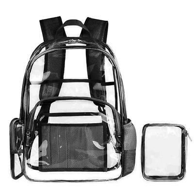 School Clear Backpack Transparent Security Book Bags See Through Medium New