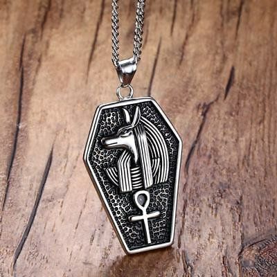 Mystical Egypt Coffin Amulet Anubis Ankh Pendant Necklace Chain Men Jewelry Gift