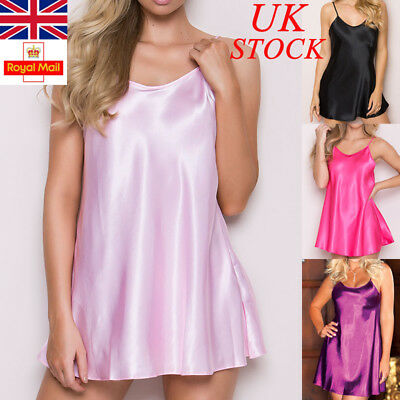 UK Womens Satin Nightwear Sleepwear Ladies Pajamas Lingerie Night Mini Dress Top