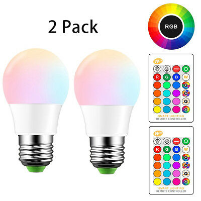 LED Color Change Light Bulbs E26 5W RGB Lights Lamp Remote Colored Bulb 2 Pack
