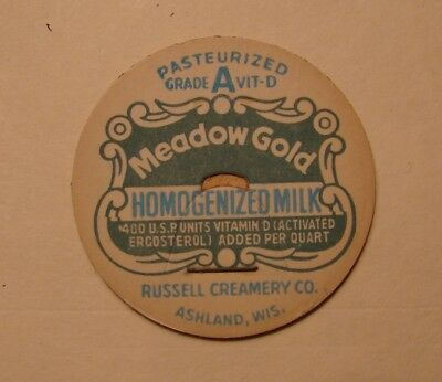 MEADOW GOLD RUSSELL CRY CO. ASHLAND,WI.WIS. 1 5/8s BANNER MILK BOTTLE CAP