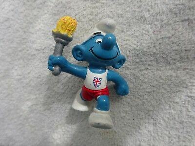 Vintage Smurf figure peyo Bully W Germany UK Olympic Touch Runner