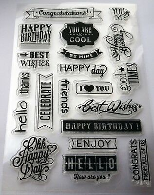 Words/Phrases Mixed Sentiments Clear Rubber Stamps – BNIP - Free P&P