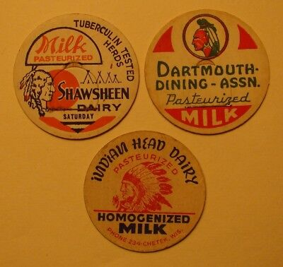 3 Diff.indian Milk Bottle Caps Wis,ma.nh. #7
