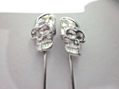 Stick Pin - SKULL- Silver plated - 26x90mm - 2 per bag - NRs