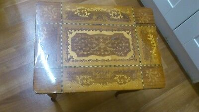 Antique Table Inlaid Top/Music Box working