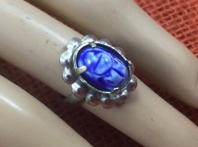 Vintage Style Ring Silvertone porcelain flow blue Scarab Adjustable SZ 6