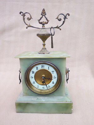 Antique French Onyx Cased 8 Day Timepiece Mantel Clock