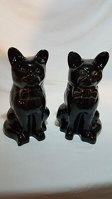 Pair of Antique Staffordshire Black Cats with Glass Eyes