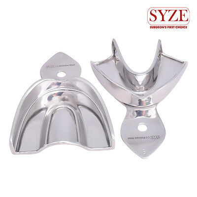 Dental Impression Trays Small Upper and Lower 2 Pcs Set Stainless Steel Solid CE