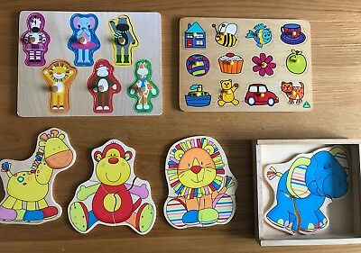 🦁ELC Fun wooden jigsaw puzzles Up To 2/3 Years Old Zoo Animals 3 Sets Puzzles🐯