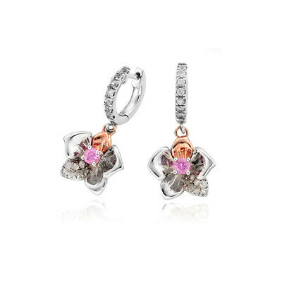 BRAND NEW Welsh Clogau Silver & Rose Gold Orchid Pink Sapphire Drop Earrings