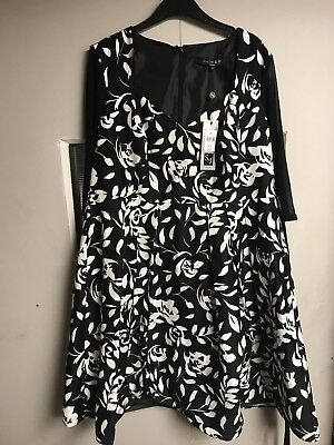 Scarlett & Jo London black/white dress UK size 20, New With Tag, Rrp £65