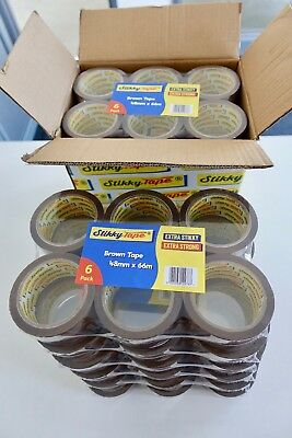 36 72 144 rolls CLEAR / BROWN / FRAGILE Stikky TAPE 48mm x 66m 1 DAY DELIVERY