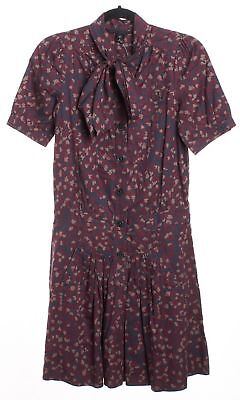 MARC BY MARC JACOBS Gray Pink Floral Pleated Shift Dress Size S