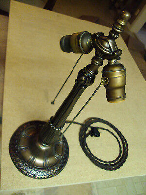 18 in.vintage cast iron two light table lamp