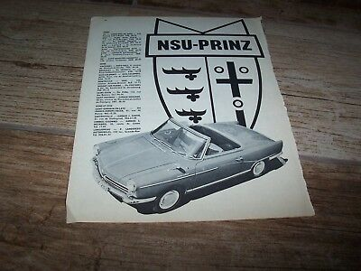 NSU Prinz Spider Publicité magazine / Original Advertising AD 1965 //