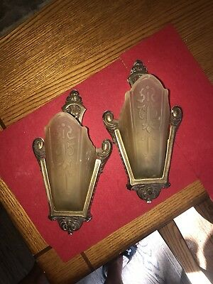 Antique Deco Glass Slip Shade Wall Sconce Pair  by Moe Bridges Co, 1920-30s