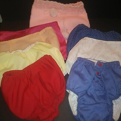 Vintage 1950s 1960s Baby Lg Doll Clothes Cotton Diaper Cover Rubber Panties Lot