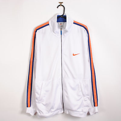 Vintage 90s Nike Track Jacket in White Taped Sleeves Swoosh Shell Top XL Retro