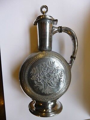 CHRISTOPHER DRESSER AESTHETIC MOVEMENT SILVER PLATED JUG plating is badly worn