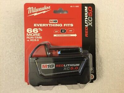 New Milwaukee 48-11-1850 Battery M18 18V 18 Volt XC 5.0 Ah Red Lithium Ion