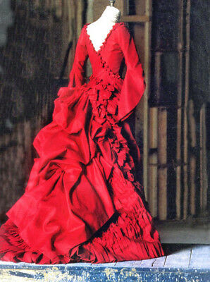 Vintage Red Raw Silk Bride Of Dracula Wedding Dress & Detachable Bustle Sz 12
