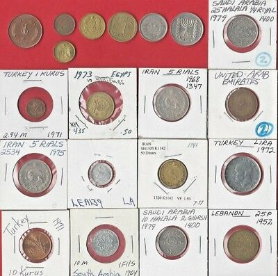 Middle East. Vintage Lot Of 20 Assorted Coins. Syria, Egypt, Israel Etc See Pics