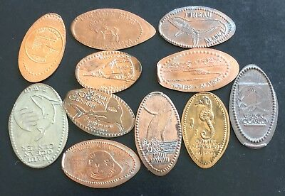 Alaska & Hawaii Elongated Coin Token Penny Lot Pearl Harbor Maui Waikiki Juneau