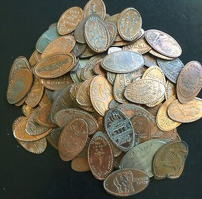 120 Mixed Lot of Elongated Pressed Pennies Tokens Coins Mostly West Coast