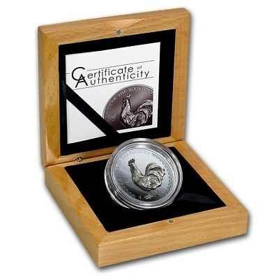 2017 Mongolia 500 Togrog Year of the Rooster 1oz Silver Proof HiCarv Feature