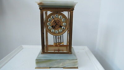 French Onyx and Brass Crystal Regulator Clock