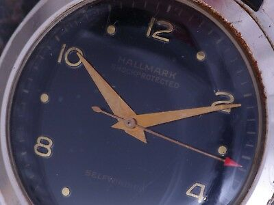 Hallmark 50s Vintage Art Deco Military Style Running Automatic AS 1361 NOS Band