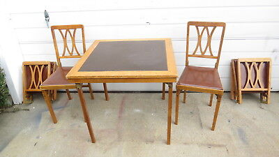 antique Streamline  Trailer folding table and Chairs  E- G-O- Matic NY 1950's