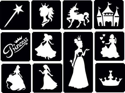 11x Princess top up glitter tattoo kit face painting Airbrush (reusable)