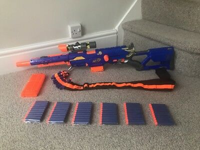 NERF Longstrike Sniper Rifle With Bandolier, 2 Clips, Camo Sniper Scope & Darts