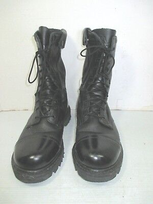 c461cf14daf5a BLACK LEATHER JUMP boots side zipper vibram sole men's size 11 punk ...