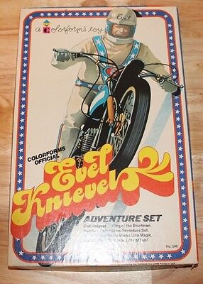 Rare Vintage Original 1974 Colorforms Evel Knievel Adventure Set Complete Unused